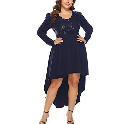 Zylione Damen Party Kleid Pailletten Kleider Cocktailkleid Abendkleider Festliche Elegant Kleid Plus Größen Langarm Taille Schwalbenschwanz Unregelmäßiger Saum Knielang Retro Funkeln Glitzernde Glam