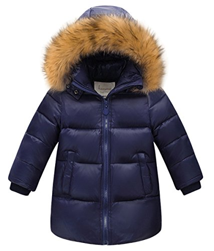 Lukis Daunenjacke Kinder Jungen Winterjacke mit Fellkapuze Parka Outerwear Navy Größ 110 - Jungen Daunenjacke