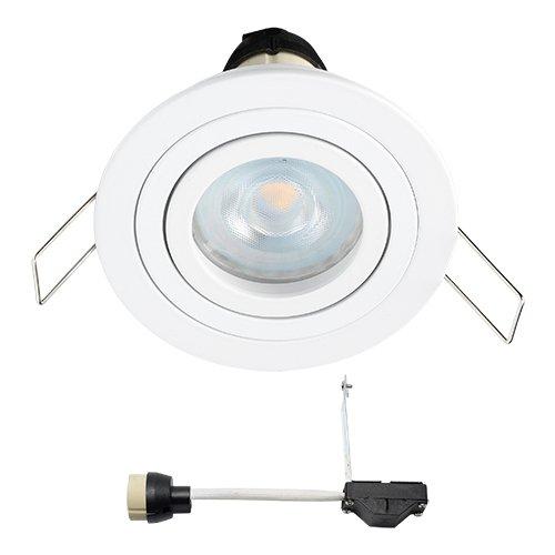 Spot LED encastrable coblux (Blanc) | Spot/Spots Encastrables/encastrés/Downlight/plafond spots encastrables//plafond Luminaires encastrés | 5 W/intensité variable Blanc chaud/IP20/orientable/230 V