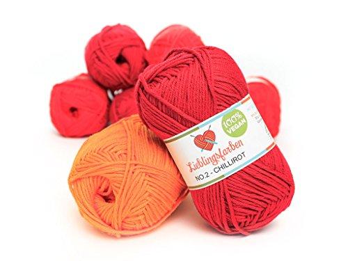 Lieblingsfarben Häkel- und Strickgarn: Farbe chillirot: 100% pflanzliches, besonders leichtes Garn. 15% Kapok, 85% Baumwolle