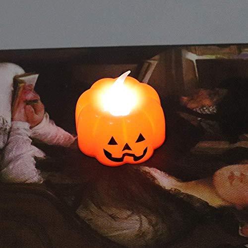 LIHAO Flammenlose Teelichter LED Halloween Kürbis Lichter Kerzen Für Weihnachten Hochzeiten Party Kinderzimmer Dekoration Indoor Outdoor (12 Packungen),Style1