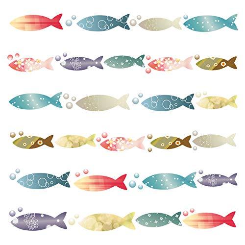 Kang Extraíble pared adhesivos adhesivo para las niñas habitación de niño Wall Stickers salón dormitorio TV fondo Inicio Especies de peces con textura impermeable color de peces marinos baños alicatados de niños.