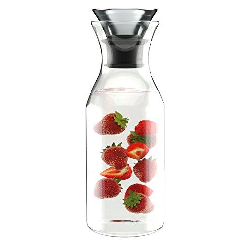 Comfify 1L Tropf-freie Borosilikat-GlasKaraffe mit Deckel - Wasserkaraffe - Glaskrug für heiße & kalte Getränke – Eis- Tee-Krug – Saft Ausguss Flasche - Wein-Dekanter - Glas mit Deckel