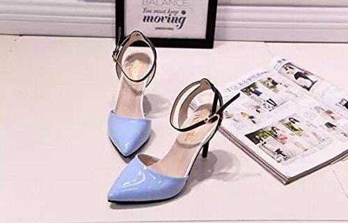 2016 Frühjahr neue Damen-Schuhe mit hohen Absätzen flacher Mund Azurblau