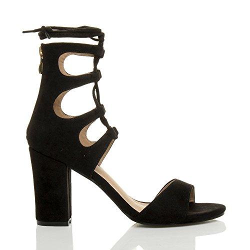 Ajvani Damen Hohe Absatz Ausgeschnitten Schnür-Pumps Peep Toe Schuhe Sandalen Größe Schwarz Wildleder