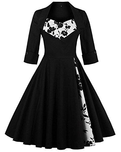ZAFUL Damen Festliche Vintagekleid 3/4 Ärmel Hepburn Abendkleid Elegant Swing Kleid-Schwarz2-L (Kleid Kellerfalte)
