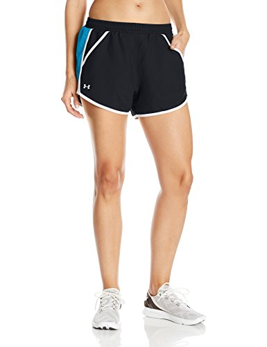 Under Armour Women's Fly-By Shorts, Black/Bayou Blue, X-Large (Sleeve Bow Cap)