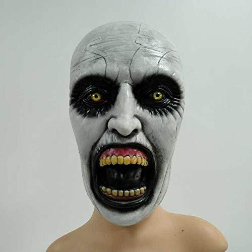 Die Nonne Cosplay Maske Valak Creepy Scary Horror Latex Masken mit Kapuze Kostüm Halloween Party Masque Requisiten Deluxe, ohne Kopftuch (Ohne Masken Halloween-kostüme Scary)