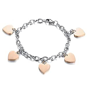 Jewelrywe Gioielli Bracciale da Donna Uomo, Love Heart Braccialetto, Acciaio Inossidabile, Argento Oro(con Borsa Regalo)