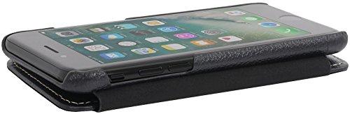StilGut Book Type Case mit Clip, Hülle Leder-Tasche für iPhone 8 & iPhone 7. Seitlich klappbares Flip-Case aus Echtleder für das Original iPhone 8 & iPhone 7 (4,7 Zoll), Schwarz Nappa Schwarz