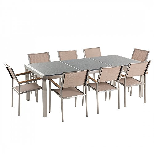 Gartenmöbel - Granitgartentisch 220 cm grau poliert mit 8 beigen Stühlen - GROSSETO
