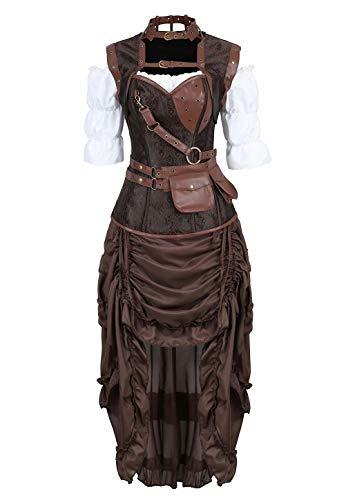 Corsagenkleid Kunstleder Korsett Corsage Kostüm mit Pirat Spitzenrock und Bluse für Karneval Fasching Halloween Braun XL ()