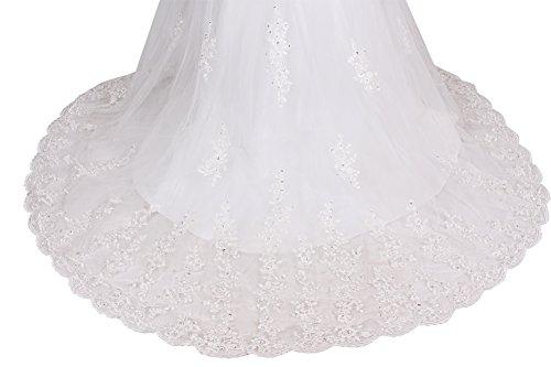 Dressystar Robe de princesse, Robe de mariée Longue, sans Bretelles, en Tulle Blanc