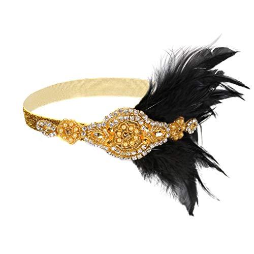 Haarbänder für Damen, Gatsby Flaper Feder 20er Jahre Stirnband Zubehör Brautschmuck mit Kristallperlen Haarschmuck für Frauen und Mädchen