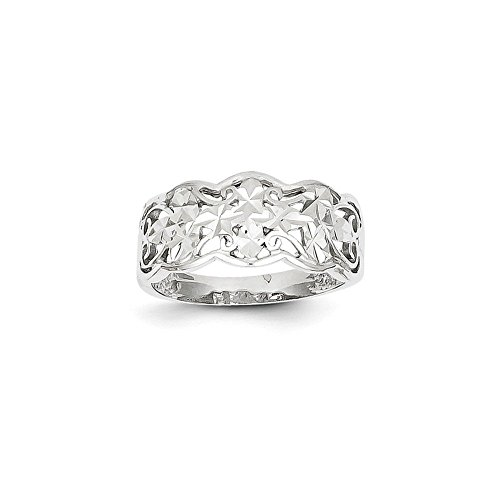 14k White Gold Diamond-cut onda Anello da UKGems - 14k White Gold Diamond-cut Wave Ring (White Diamond Anello Onda)