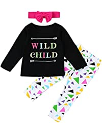 �� Bebe Invierno por 2-6 Años, �� Zolimx Bebé Niñas Niños Letra de Impresión Tops Camisa + Pantalones Largos + Diadema 3Pcs Conjuntos Trajes Ropa
