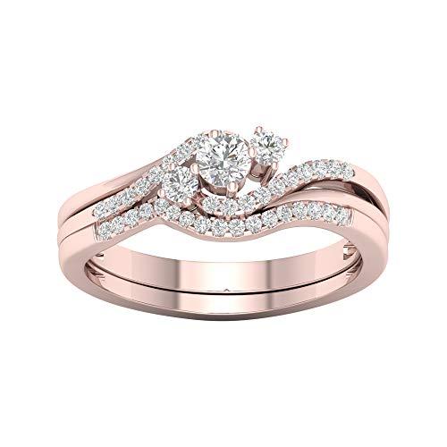 Anello di fidanzamento da donna in oro 10 k con diamante rotondo da 0,33 carati (taglio i2-clarity-h-i-color) e oro rosa da 10 ct, 18,5, cod. hr-rb4448-8.5-r