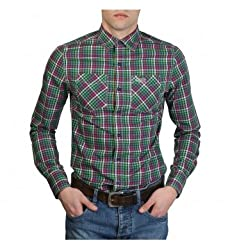 SUPERDRY Mens Casual Shirt (Green, Large)