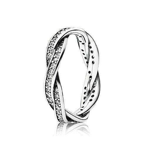 Pandora argento sterling 925 donna-anello zircone bianco 190892cz, argento, 8, colore: bianco, cod. 190892cz-48