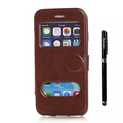 """inShang Hülle für Apple iphone 6 4.7 inch iPhone6 4.7"""", Edles PU Leder Tasche Hülle Skins Etui Schutzhülle Ständer Smart Case Cover für iphone 6 Cell Phone, Handy , Zubehör + inShang Logo hochwertigen CRAZY HORSE BROWN"""