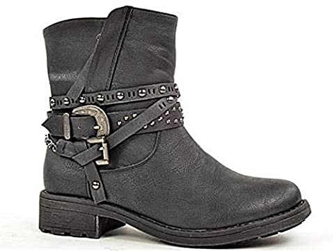 Ladies 430705 Fabs Faux Leather Buckle Flat Fashion Western Biker Ankle Boots Size 3-8 (UK 3, Black)