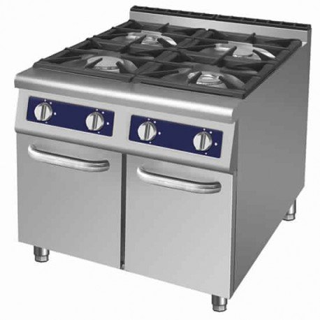 cuisinière à gaz, 4 brûleurs, 2 armoires fermées