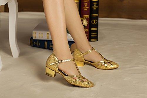 Minitoo, Scarpe da ballo donna Gold-5cm Chunky Heel