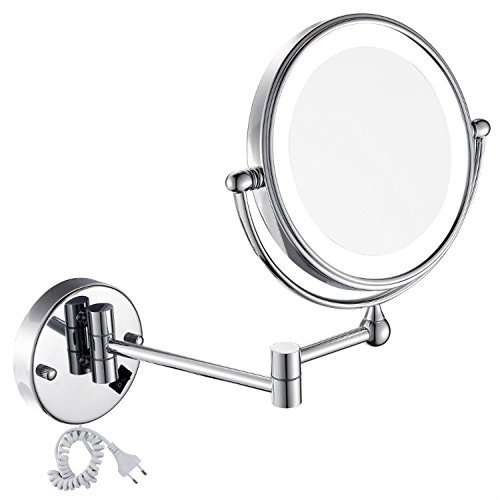 GURUN LED Beleuchtet Kosmetikspiegel Wandmontage 1+10Fach, Doppelseitig, Rostfrei,Verchromte M1805D(20cm*10fach)
