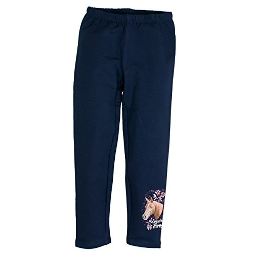SALT AND PEPPER Mädchen Legging Horses Print, Blau (Navy Blue 450), 110