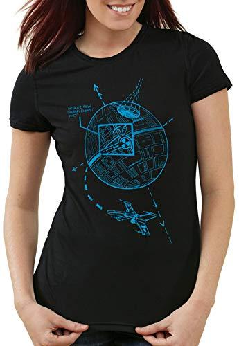 A.N.T. Lüftungsschacht Damen T-Shirt Todesstern Imperium Angriff, Farbe:Schwarz, Größe:L -