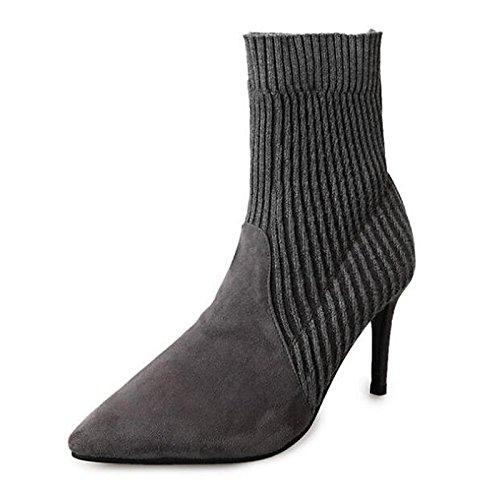 HSXZ Scarpe da donna in pelle Nubuck inverno cadono Comfort moda Stivali Stivali Stiletto Heel Babbucce/stivaletti di abbigliamento casual Nero Grigio Black