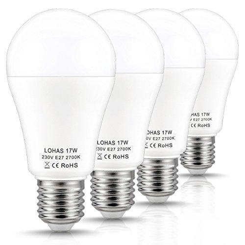 LOHAS A60 17W E27 LED Lampen, 2700K Warmweiß, 150W Glühlampen Äquivalent, 1600LM, Nicht Dimmbar, für Haus- und Geschäftsbeleuchtung, 180 Grad Abstrahlwinkel, passend zu AC 220~240V, 4er-Pack (150w Led-lampe)