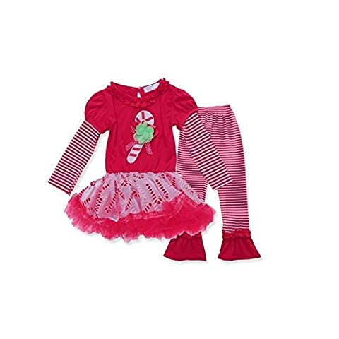 Z by Yoon Little Girls Red Candy Cane Applique Stripe Christmas Pant Outfit 3T