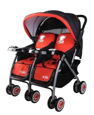 XYUJIE Kinderwagen Leichte Falten Kann Sitzen Und Legen Tragbare Baby Kind Regenschirm Auto Doppel Kinderwagen Hohe Landschaft Stoßdämpfung 83.5 * 77 * 100cm Red