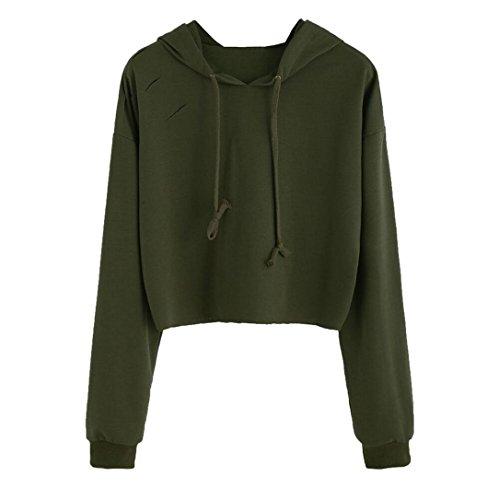 Einfarbiger Pullover Damen Langarm Hoodie Sweatshirt Jumper mit Kapuze Loch Tops Bluse GreatestPAK -
