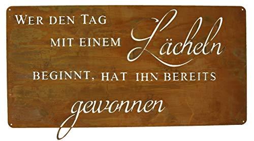 Rostikal | Deko Rostschild Lächeln | Spruchtafel aus Metall in Rostoptik | 49,5 x 25 cm
