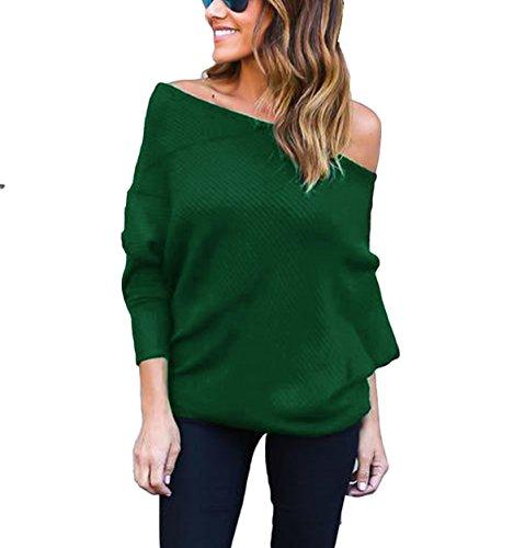 Damen Einfarbig Strickpulli Sweater Schulterfrei Fledermausärmel Langarm Loose Pulli Blusen Tops Sweatshirt T-Shirt Pullover (M, Grün) (Schulterzucken Grün)
