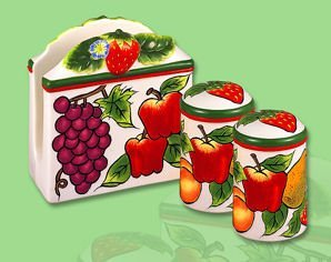 Ceramic Fruit Table Top Napkin Holder Salt & Pepper Shaker Set by KKM-Fruit