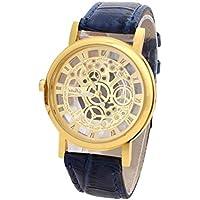 NICERIO Luxus Edelstahl Leder Armbanduhr Hohl Design Uhr Quarz-Armbanduhr für Männer (Golden mit Blau)