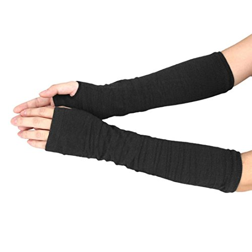 TWIFER Damen Handgelenk Arm Pulswärmer Handwärmer Gestrickte Fingerlose Handschuhe Armstulpen (34cm, Schwarz) (Leder-wolle-handschuhe)
