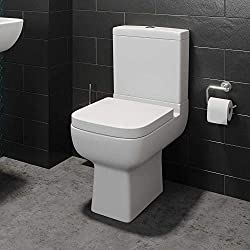 Modern Toilet Close Coupled WC Soft Close Seat Short Projection Square Bathroom Cloakroom