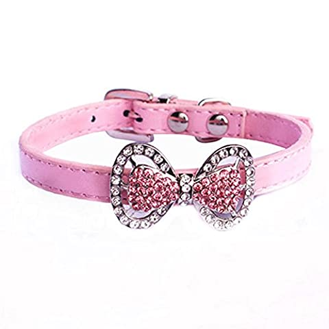 Yunt Bling Rhinestone Pet Cat Dog Bow Tie Collar Necklace Jewelry Female Puppies Chihuahua Yorkie Girl Costume Outfits(Pink,X-Small)
