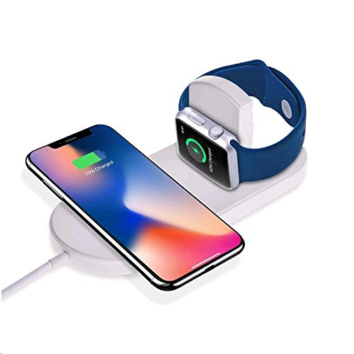 Sararoom 2 in 1 Caricabatterie Wireless, Ricarica per Apple Watch series2/3,Wireless caricatore veloce 7.5W, Ricarica induttiva per iPhone X, S6/S6 Edge/S7/S7 Edge/S8 +/Note 8, iPhone X, iPhone 8/8P