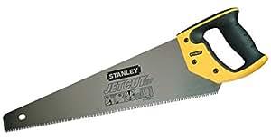 Stanley JetCut feine Handsäge 2-15-595 in 450 mm Länge / Säge für Holz, Kunststoff, Laminat / Mit Griff aus Bi-Material, verbesserter Verzahnung & 45/90° Anschlag für präzises Sägen