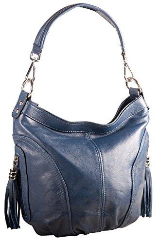 Pelle Italy Damen Beuteltasche Handtasche Echtes Leder 30x23x10 cm (BxHxT), Farbe:Gelb Blau