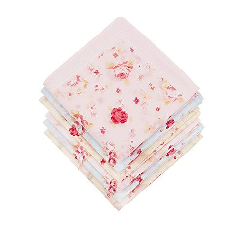 HOULIFE 6 Stücke Damen Rose Blumen Taschentücher aus reiner Baumwolle 45x45cm 3 Farben für Alltagsgebrauch -