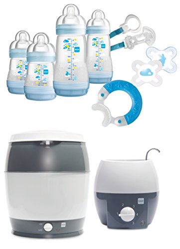 MAM Startset - Babykostwärmer + Sterilisier + Flaschenset Premium groß + gratis Schmusetuch Löwe Leo