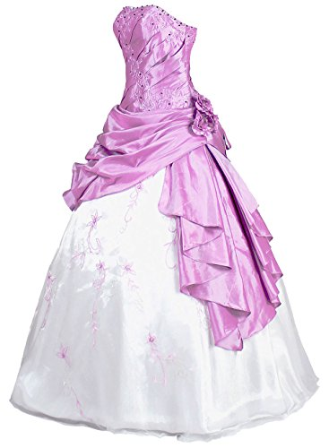 Faironly R37 Frauen Trägerlosen Abendkleid Ballkleid (XXL, Weiß Lavendel)