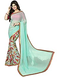 Vedant Vastram Women's Georgette Printed Saree With Blouse Piece (Turquoise & Pink Colour) Sarees