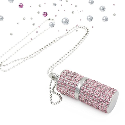 Shooo Chiavetta USB,Bling Rhinestone Diamond Crystal Glitter Rossetto Case Shining Jewelry Collana,64GB,Sakura Rosa